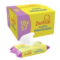Zwitsal Baby Billendoekjes Lotion Sensitive - 18 x 57 stuks - Voordeelverpakking