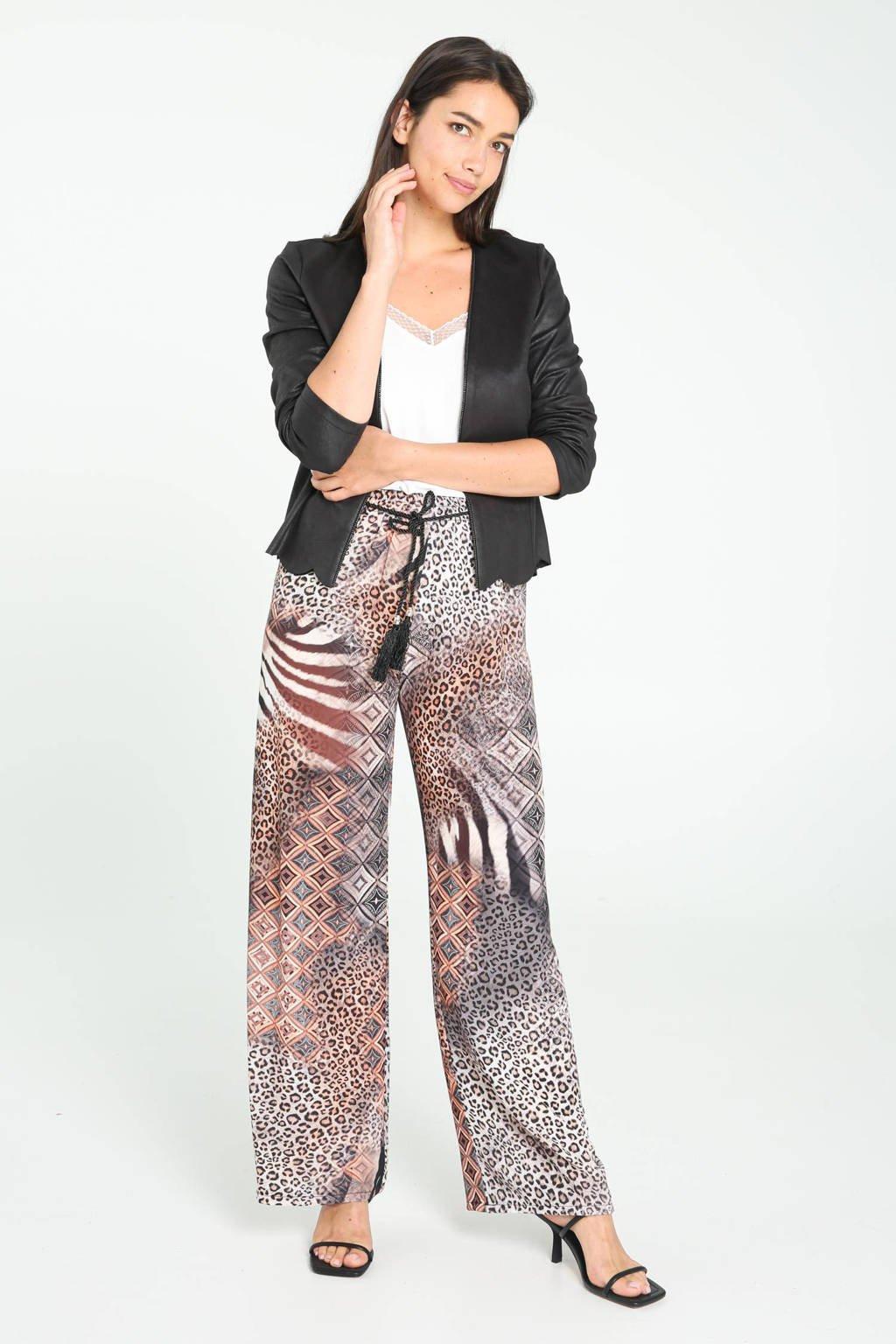 Cassis straight fit broek met dierenprint grijs/bruin/wit/zwart, Grijs/bruin/wit/zwart