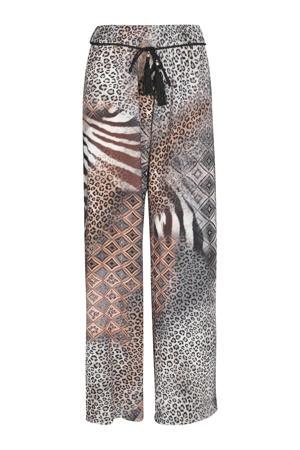 straight fit broek met dierenprint grijs/bruin/wit/zwart