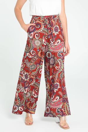 wide leg palazzo broek met paisleyprint roodbruin/ecru/roze/groen/oranje