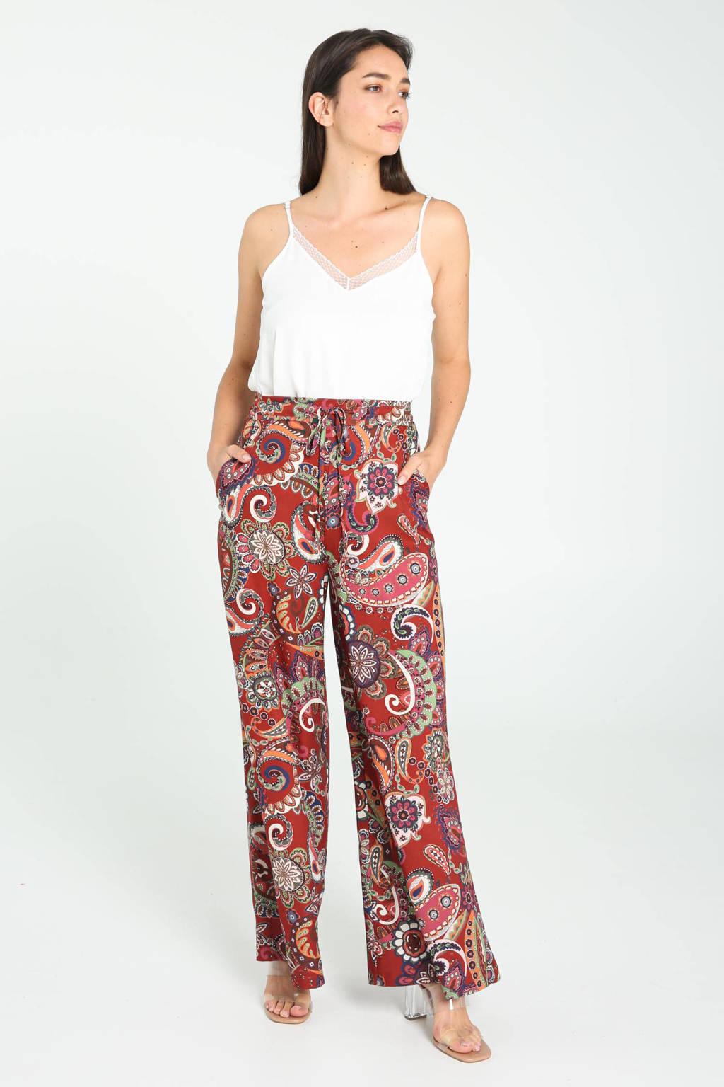 Cassis wide leg palazzo broek met paisleyprint roodbruin/ecru/roze/groen/oranje, Roodbruin/ecru/roze/groen/oranje