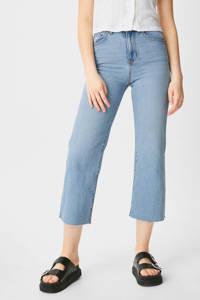 C&A Clockhouse cropped high waist wide leg jeans light blue denim, Light blue denim