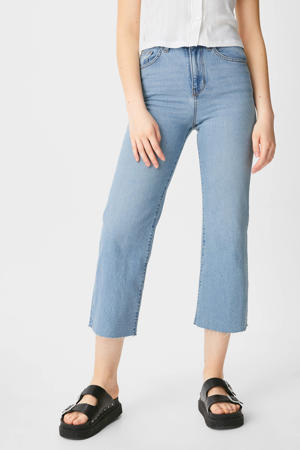 cropped high waist wide leg jeans light blue denim