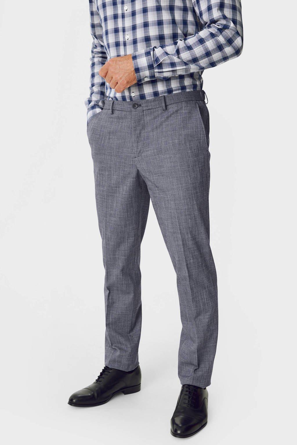 C&A gemêleerde slim fit pantalon blauw, Blauw