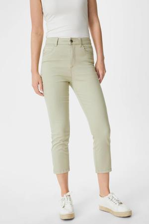 cropped high waist skinny jeans lichtgroen