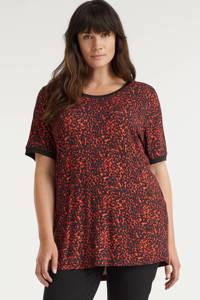 GREAT LOOKS T-shirt met print, Zwart/rood