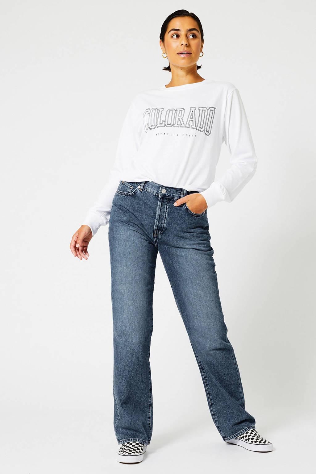 America Today sweater met tekst wit, Wit