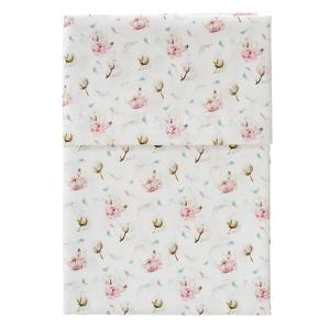 baby wieglaken cottonflower 75x95 cm wit/roze