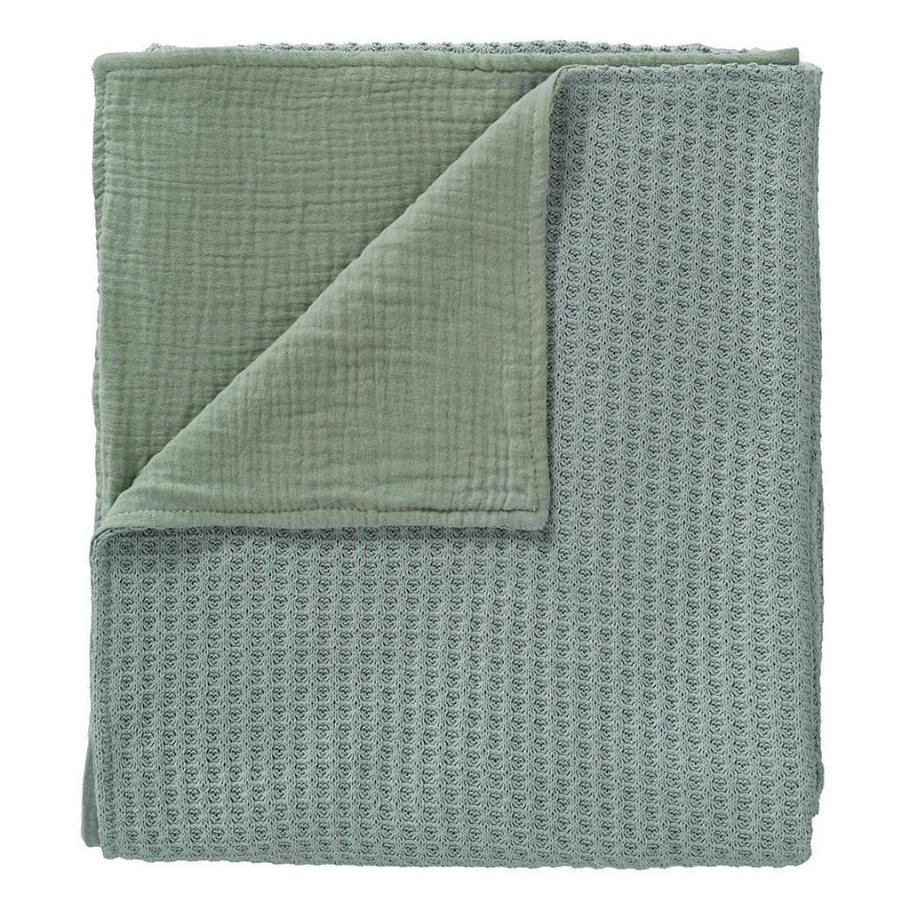 Cottonbaby baby ledikantdeken wafel gebreid met Cottonsoft 120x150 cm oudgroen, Groen