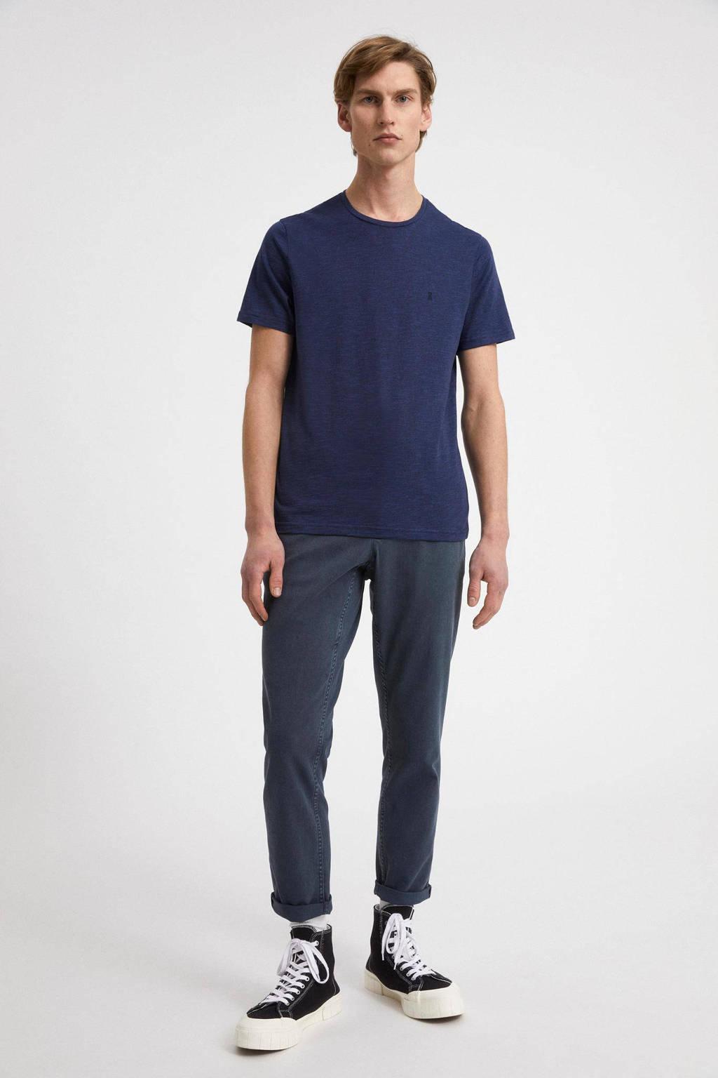 ARMEDANGELS gemêleerde regular fit T-shirt Jaames Structure van biologisch katoen dept navy-marazine blue, Dept navy-marazine blue