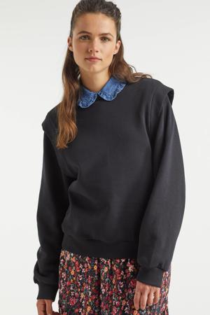 sweater met schouderdetail zwart