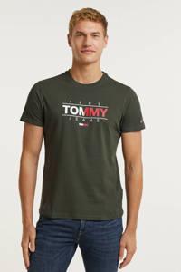Tommy Jeans T-shirt van biologisch katoen dark olive, Dark Olive