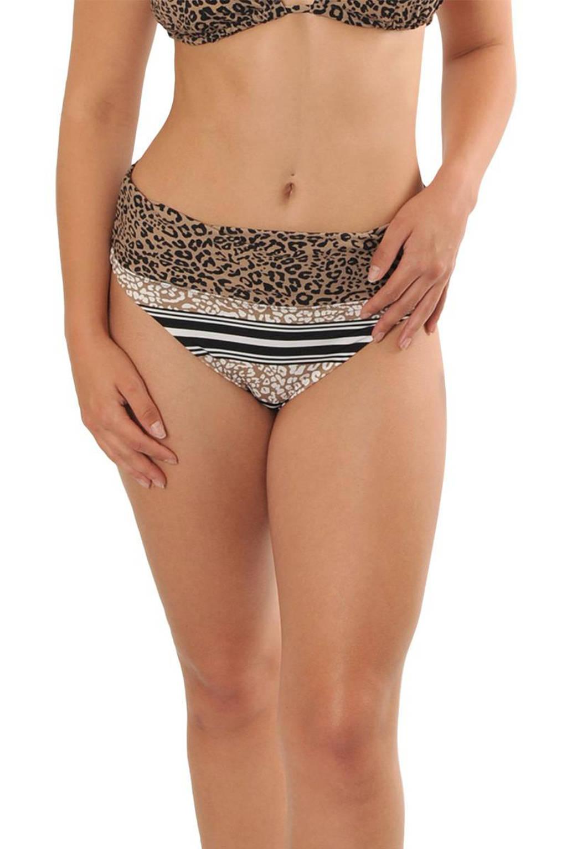 Gottex X Sapph omslag bikinibroekje Eva met panterprint bruin, Bruin/zwart/ecru