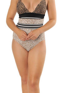 Gottex X Sapph halter push-up badpak Marilyn met panterprint bruin/zwart/ecru, Bruin/zwart/ecru