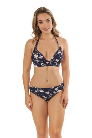 gebloemd omslag bikinibroekje Eva donkerblauw