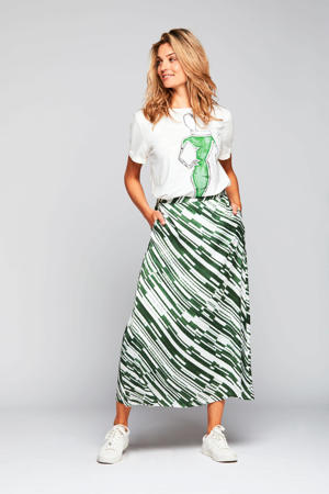 maxi rok Charlotte met all over print groen/wit