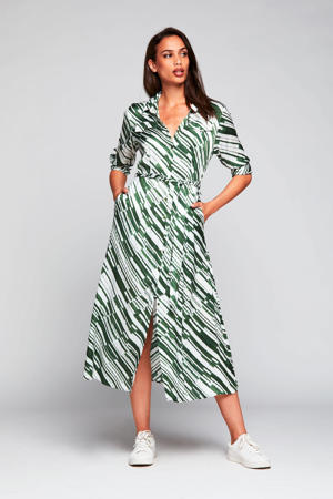 blousejurk Kenzi met all over print groen/ecru