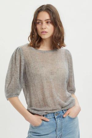 top MWFiona Knit puff blouse grijs