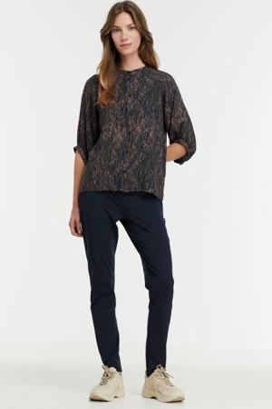 blouse MWFlora shirt met all over print donkerblauw/bruin