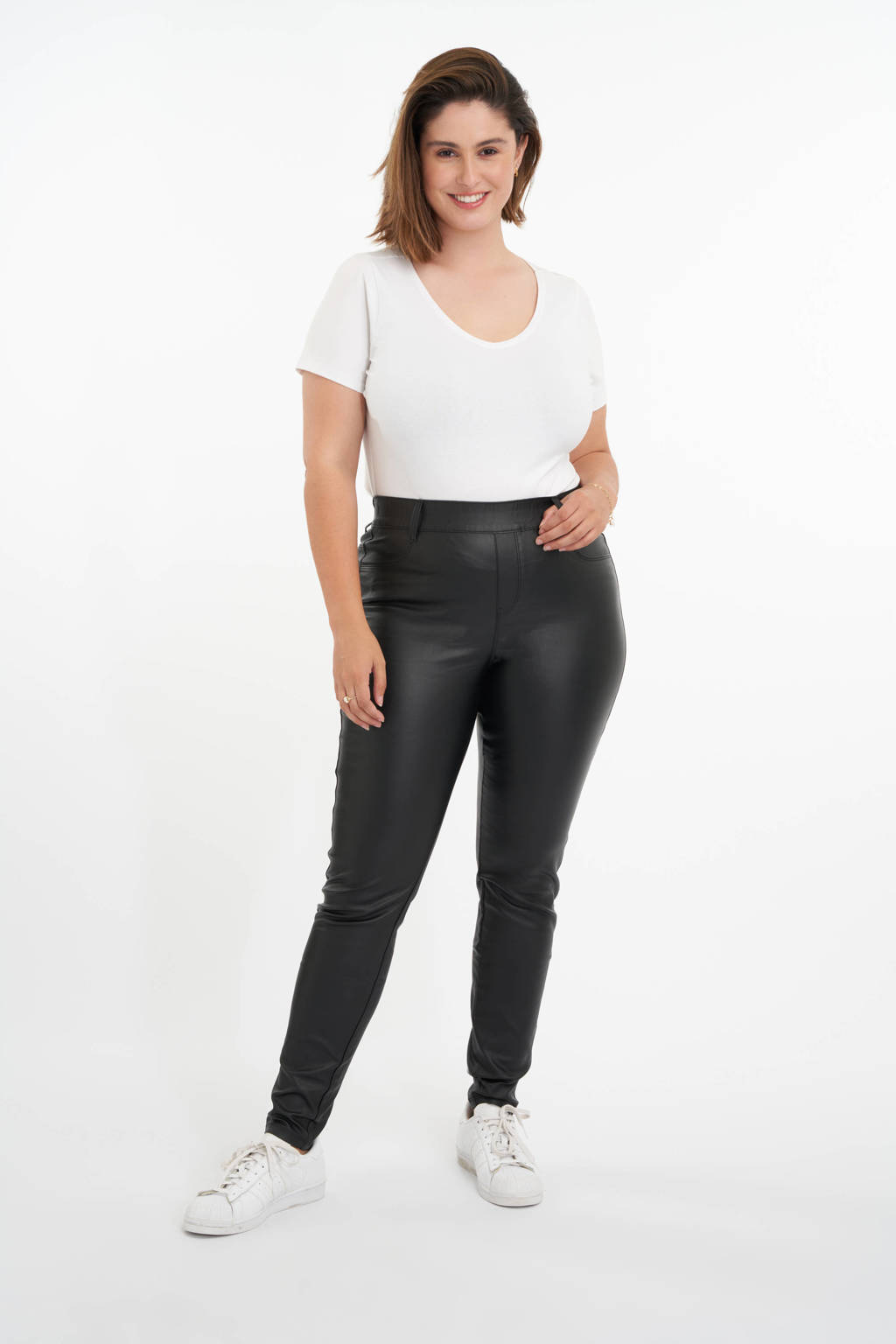 MS Mode imitatieleren skinny tregging zwart, Zwart