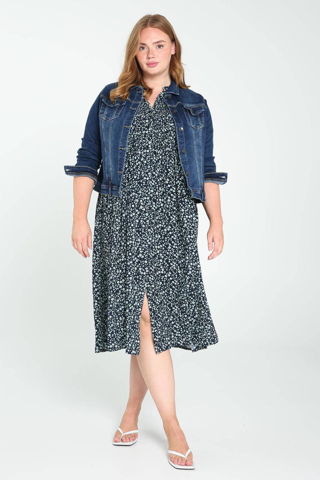 Paprika gebloemde jurk marine/ mintgroen, Marine/ mintgroen