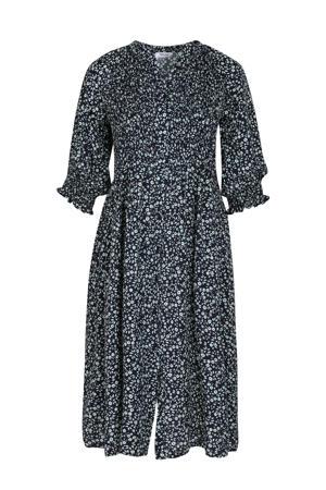 gebloemde jurk marine/ mintgroen