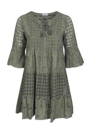 semi-transparante trapeze jurk met volant kaki