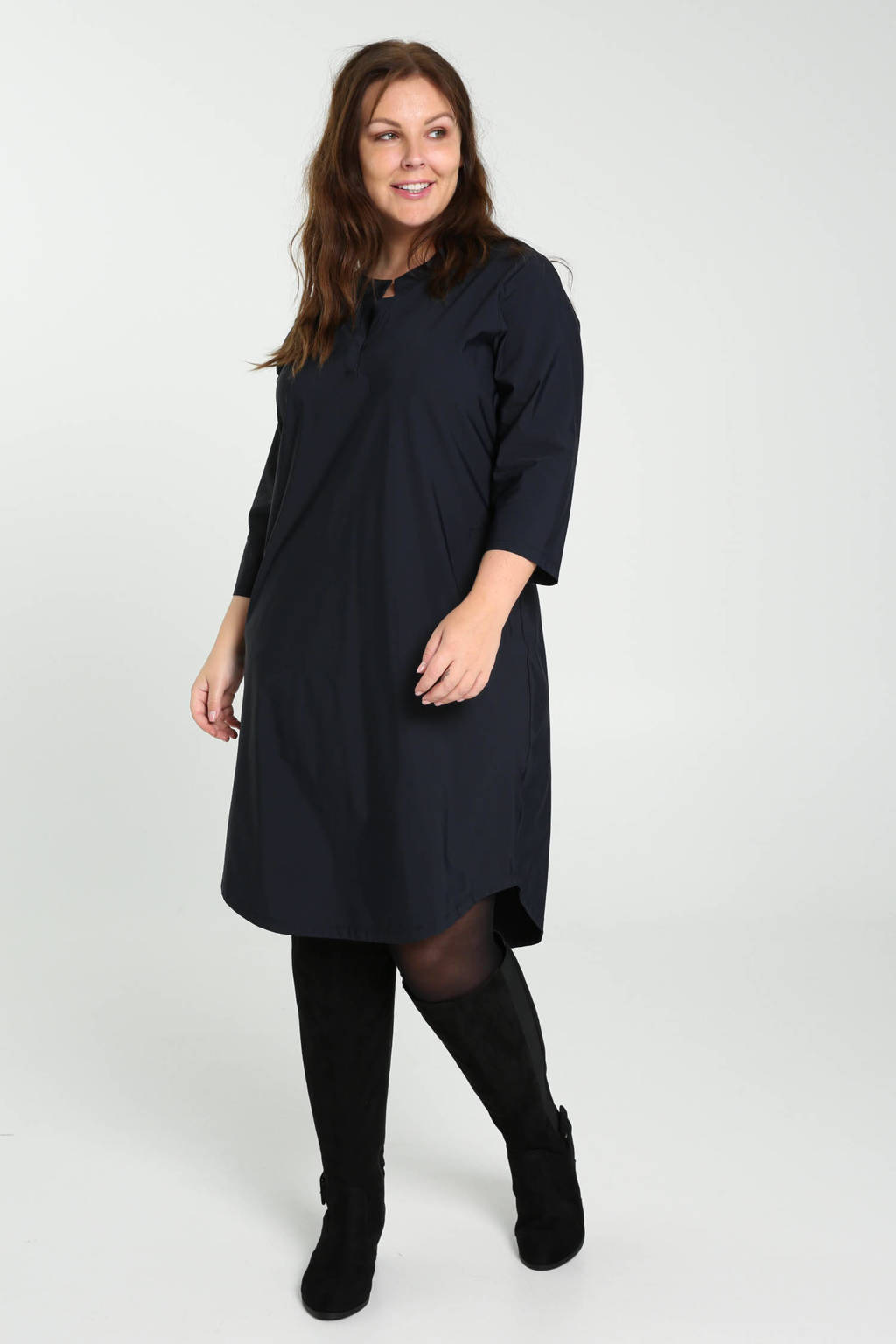 PROMISS jurk van travelstof donkerblauw, Donkerblauw