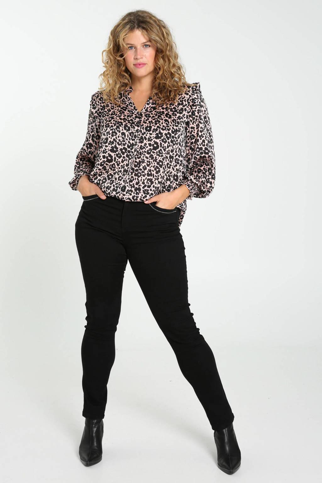 Paprika blouse met dierenprint en ruches bruin/zwart, Bruin/zwart