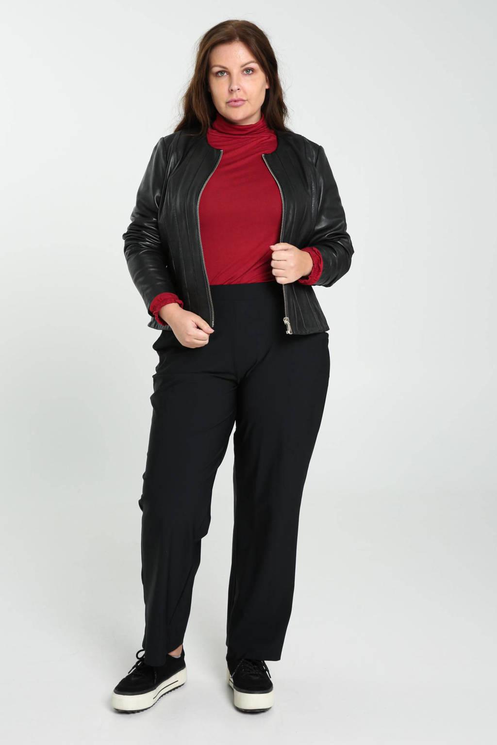 PROMISS straight fit broek van travelstof zwart, Zwart