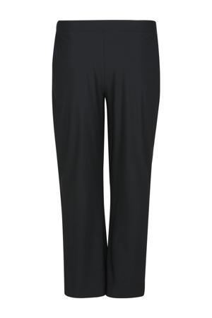straight fit broek van travelstof zwart