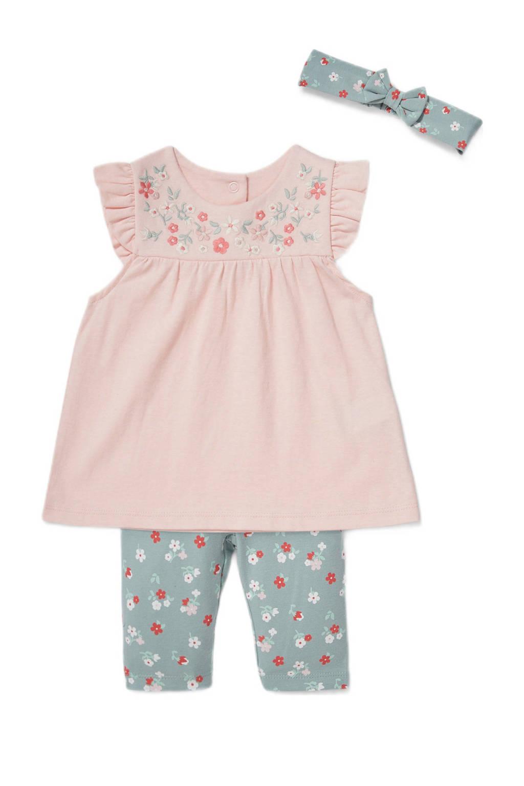 C&A Baby Club tuniek + legging + haarband zachtroze/groen, Roze