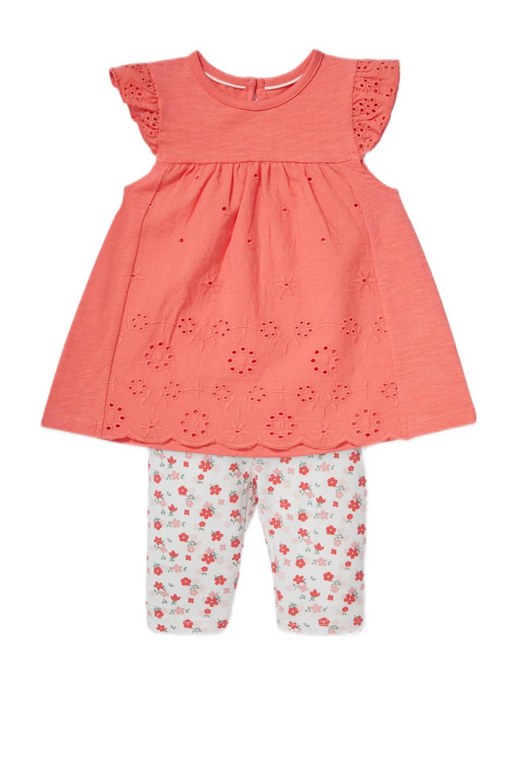 C&A Baby Club tuniek + legging, Koraalrood/wit