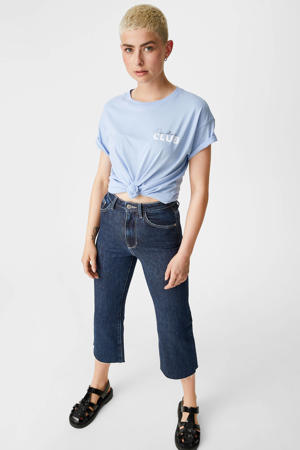 cropped straight fit jeans donkerblauw