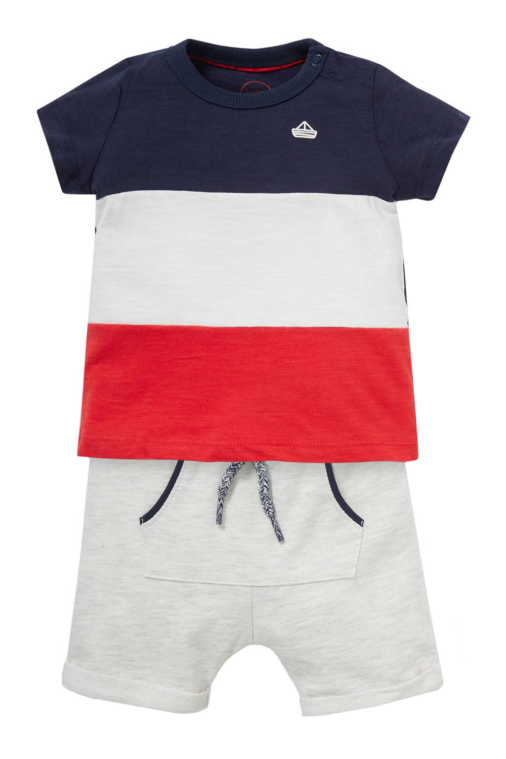 C&A Baby Club baby T-shirt + short donkerblauw/wit/rood, Donkerblauw/wit/rood