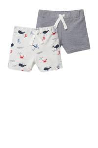 C&A Baby Club korte broek - set van 2 met all over print blauw/wit, Donkerblauw