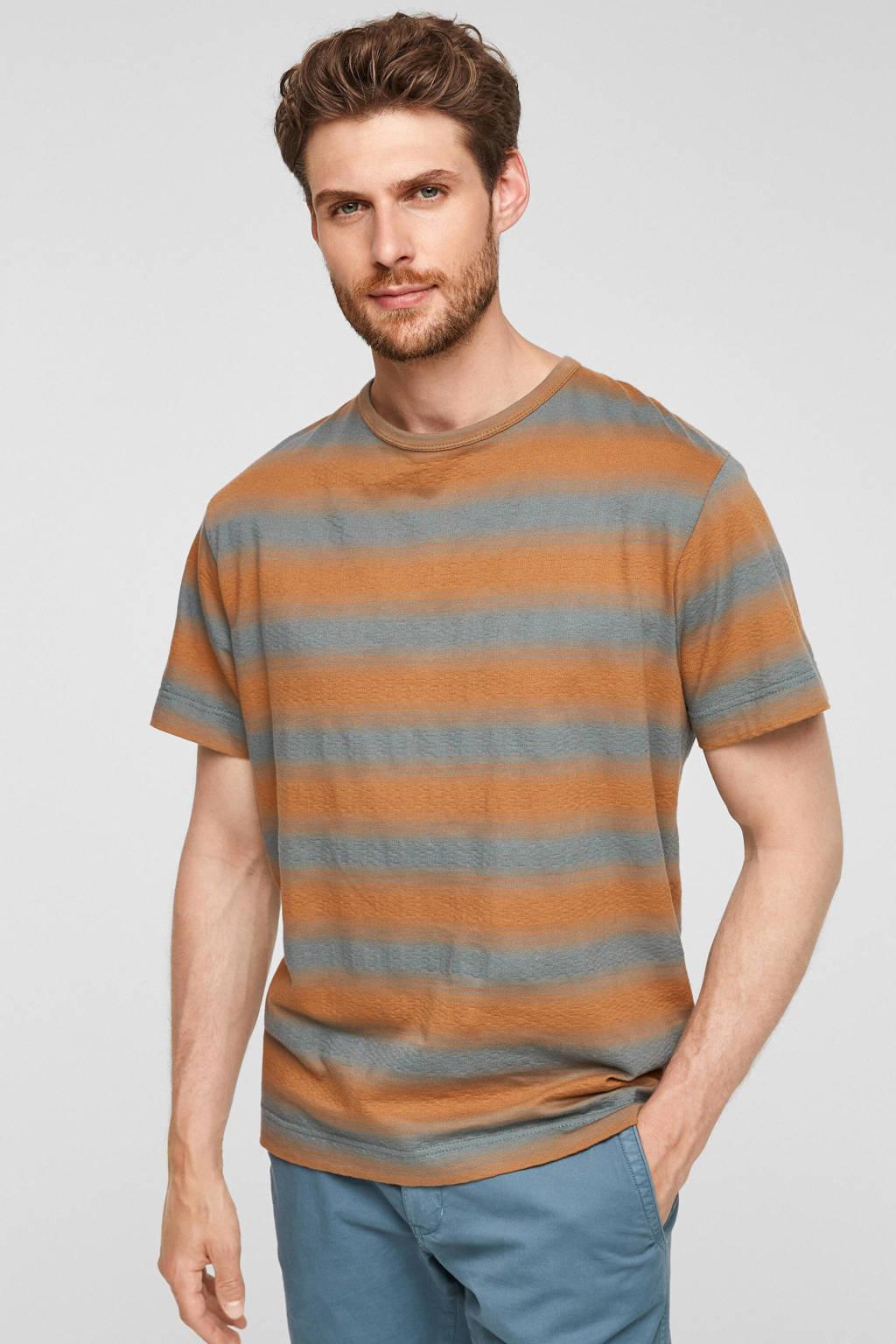 s.Oliver gestreept regular fit T-shirt petrol/oranje, Petrol/oranje