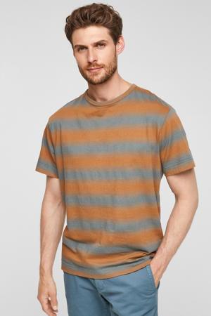 gestreept regular fit T-shirt petrol/oranje