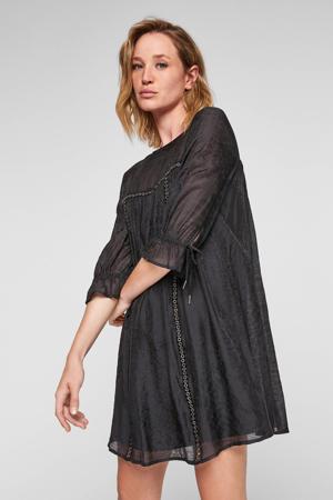 A-lijn jurk met plooien zwart