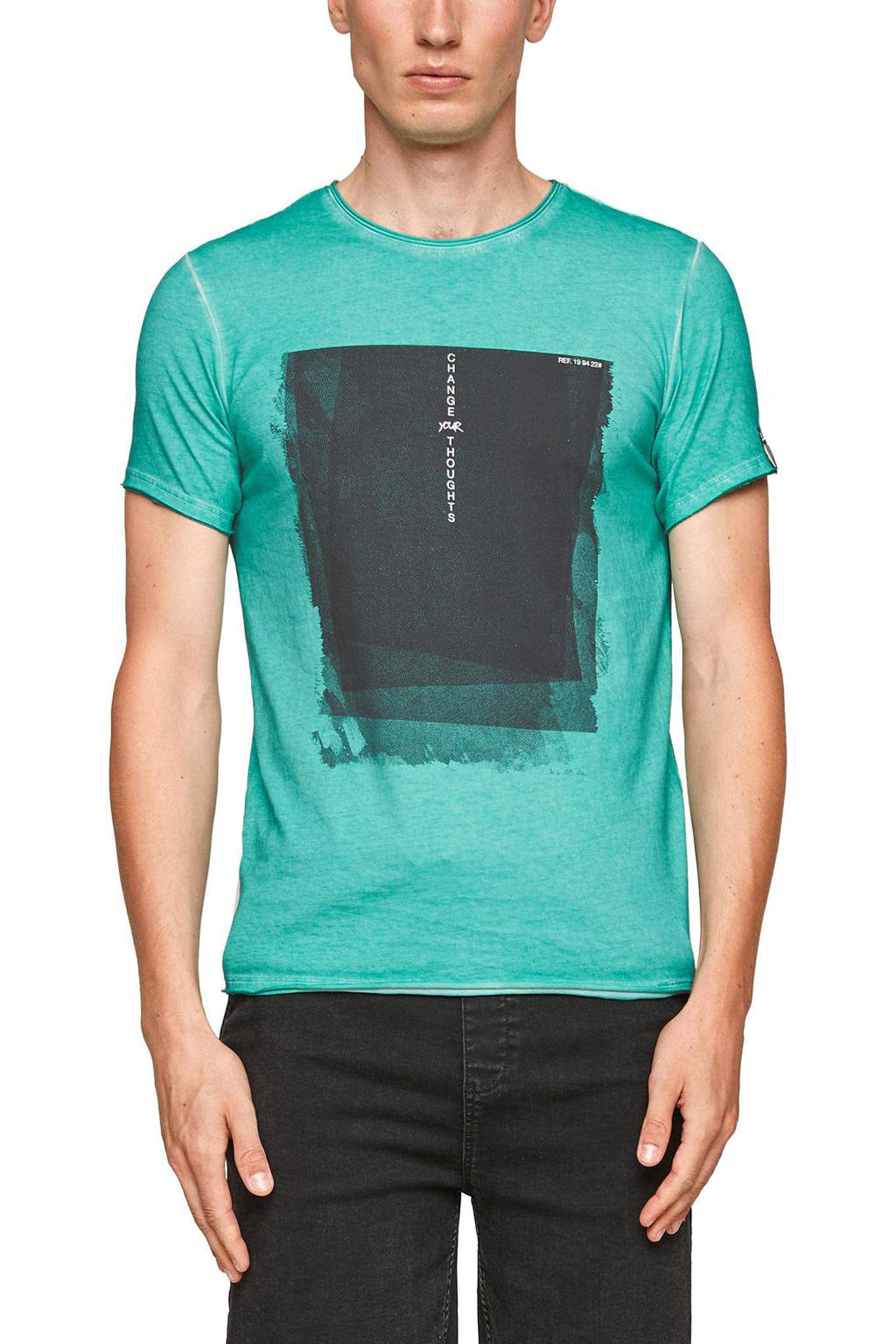 Q/S designed by slim fit T-shirt met printopdruk turquoise, Turquoise