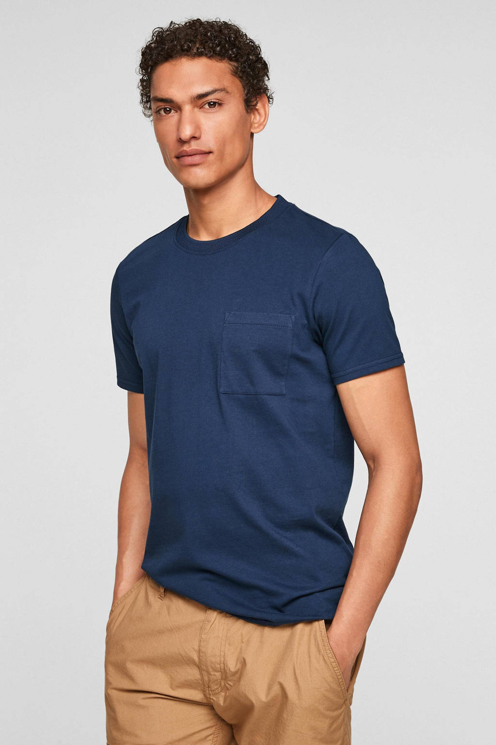 Q/S designed by regular fit T-shirt donkerblauw, Donkerblauw