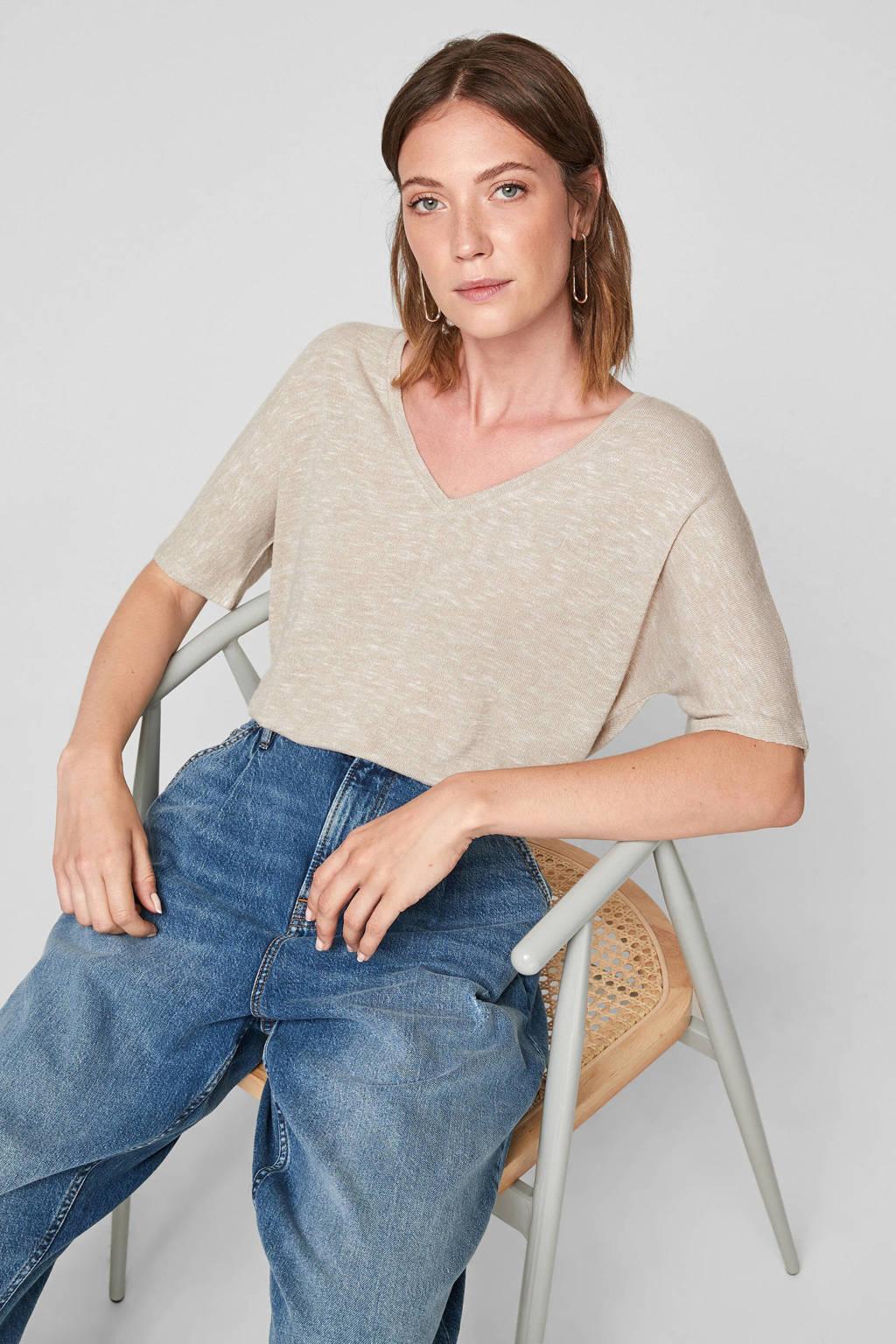 Q/S designed by loose fit t-shirt beige melange, Beige
