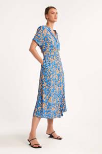 comma viscose blousejurk met all over print blauw/camel, Blauw/camel