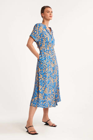 viscose blousejurk met all over print blauw/camel