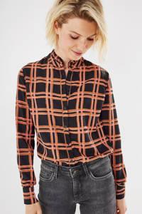 Mexx geruite geweven blouse zwart/bruin/roze, Zwart/bruin/roze