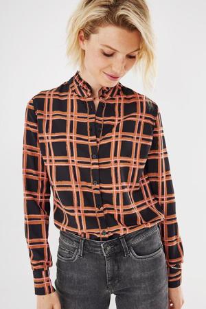 geruite geweven blouse zwart/bruin/roze
