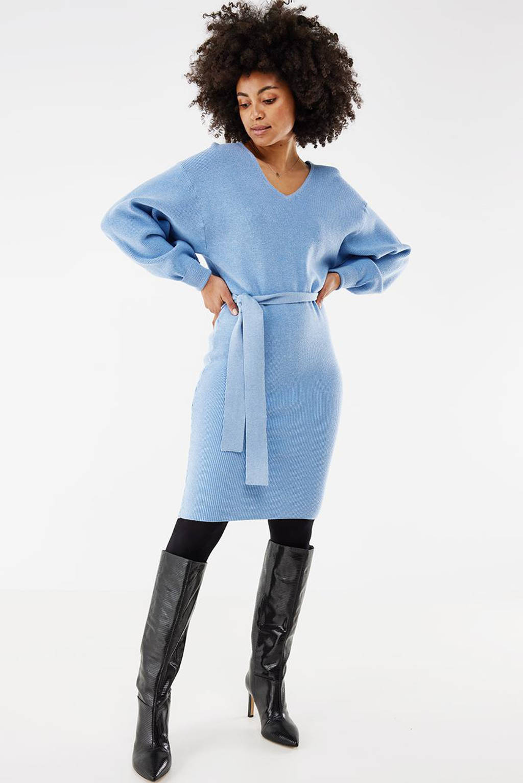 Mexx gebreide jurk met ceintuur lichtblauw, Lichtblauw
