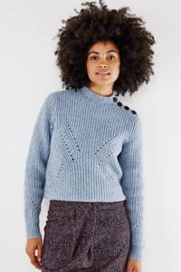 Mexx gebreide trui met open detail lichtblauw, Lichtblauw