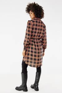 Mexx geruite blousejurk zwart/bruin/roze, Zwart/bruin/roze