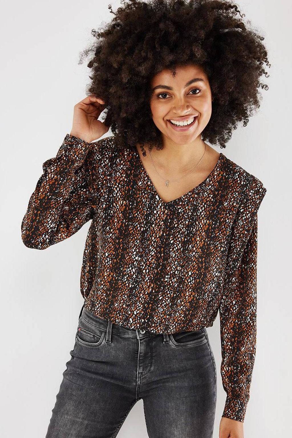 Mexx geweven blouse met all over print bruin, Bruin